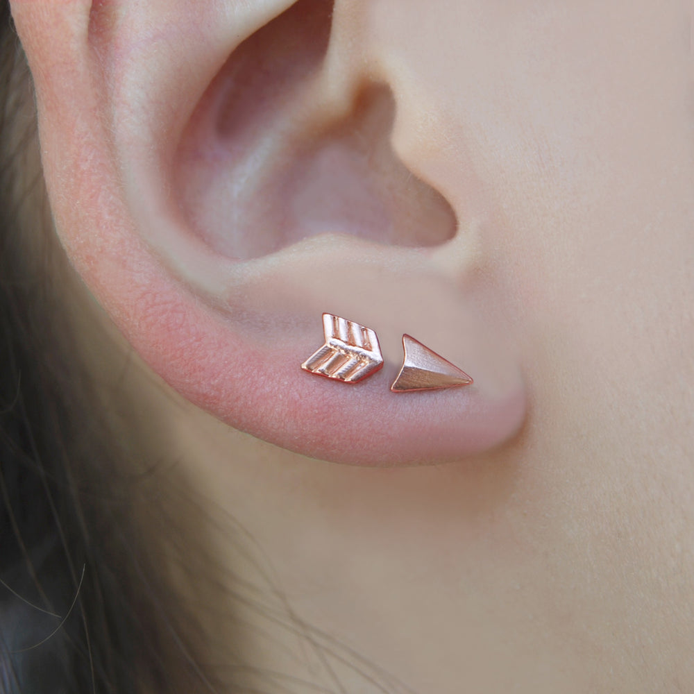 Rose Gold Arrow Stud Earrings