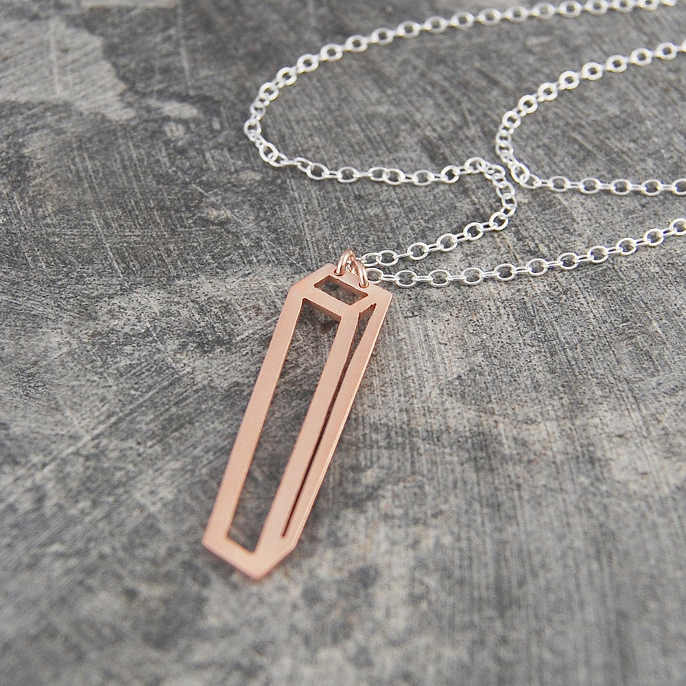 Rectangular Geometric Rose Gold Pendant