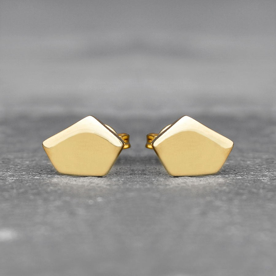 Geometric Pentagon Silver Stud Earrings