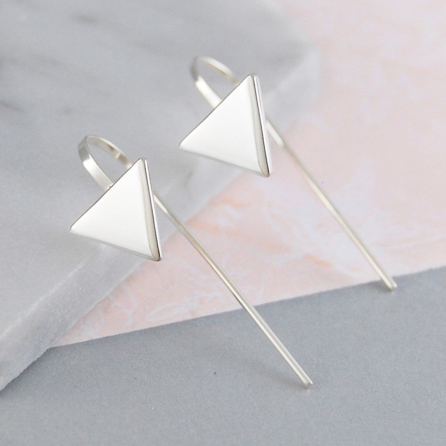 Triangle Geometric Drop Earrings - Otis Jaxon Silver Jewellery