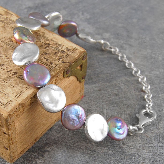 Organic Silver and Pearl Statement Bracelet