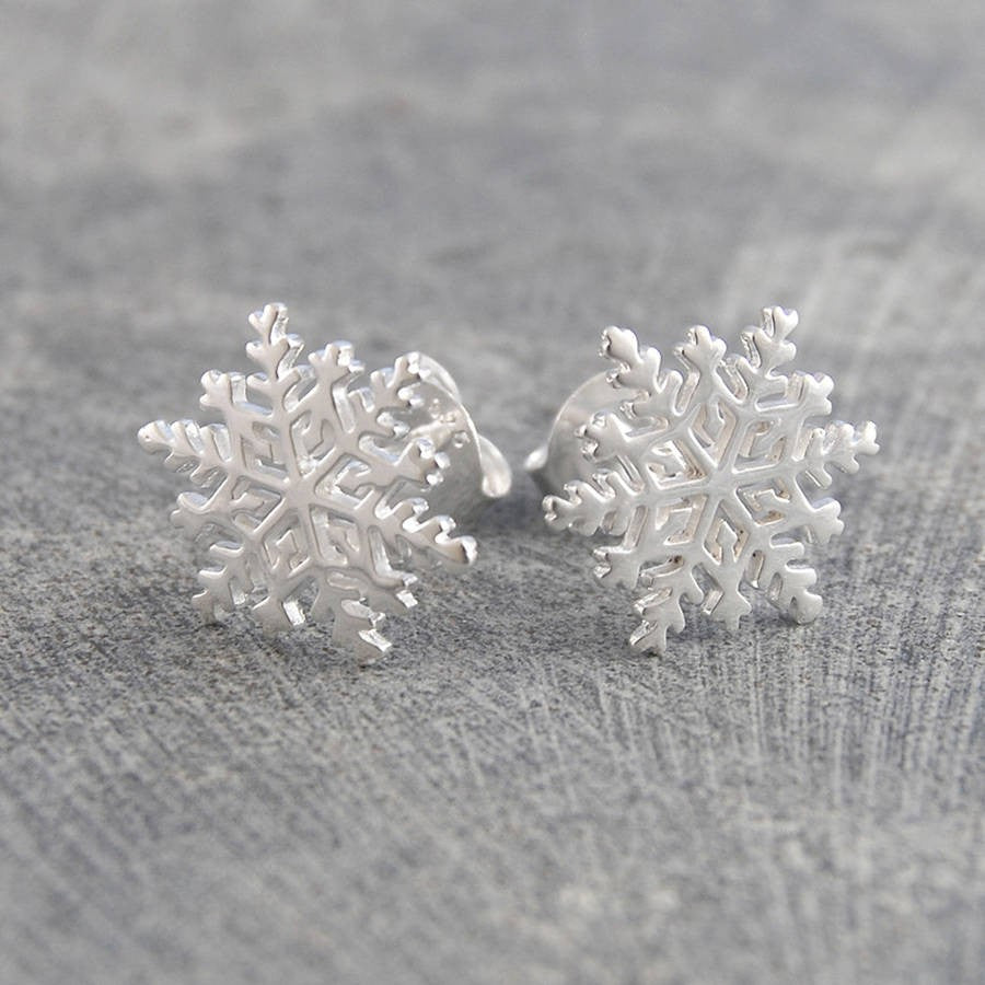 Silver Snowflake Stud Earrings - Otis Jaxon Silver Jewellery
