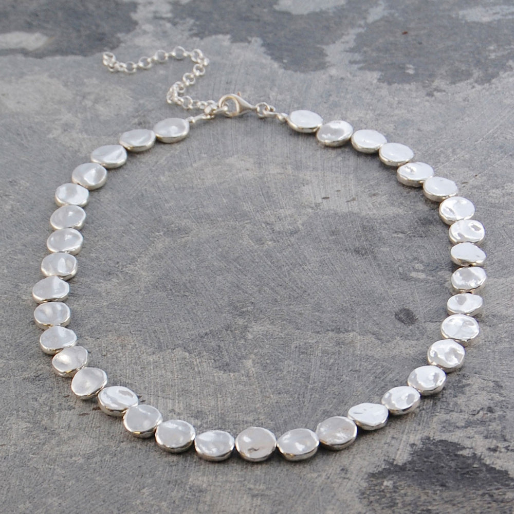 Organic Round Silver Statement Necklace