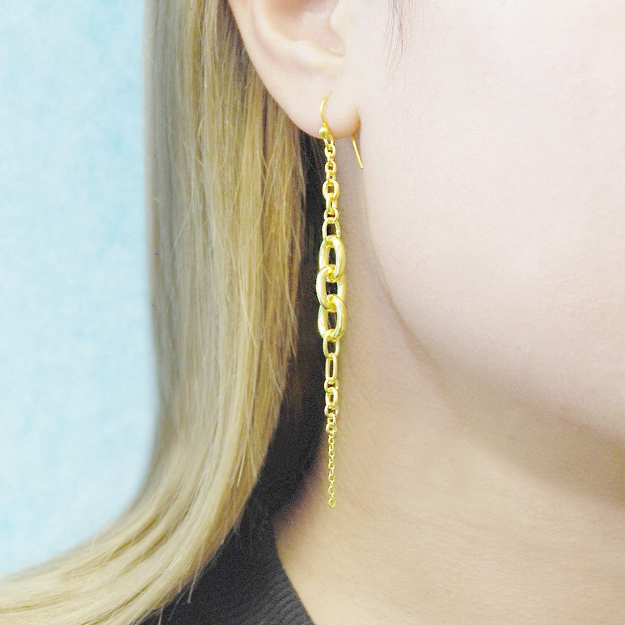 Multi Chain Gold Drop Earrings