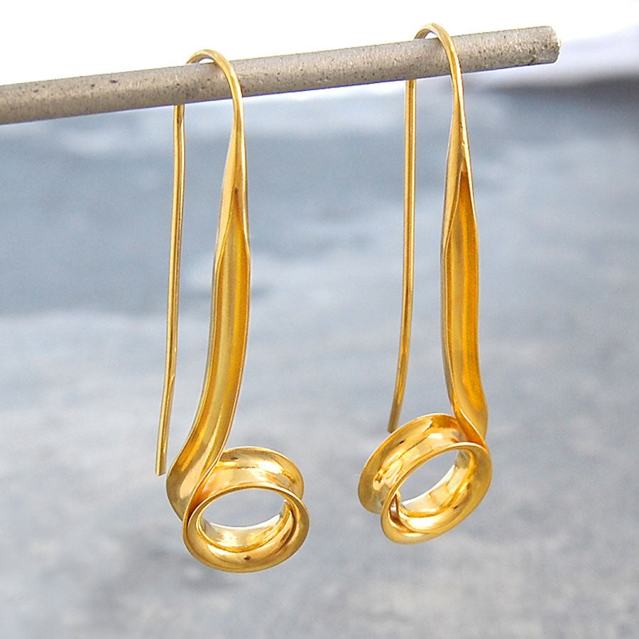 Spiral Ribbon Gold Drop Earrings