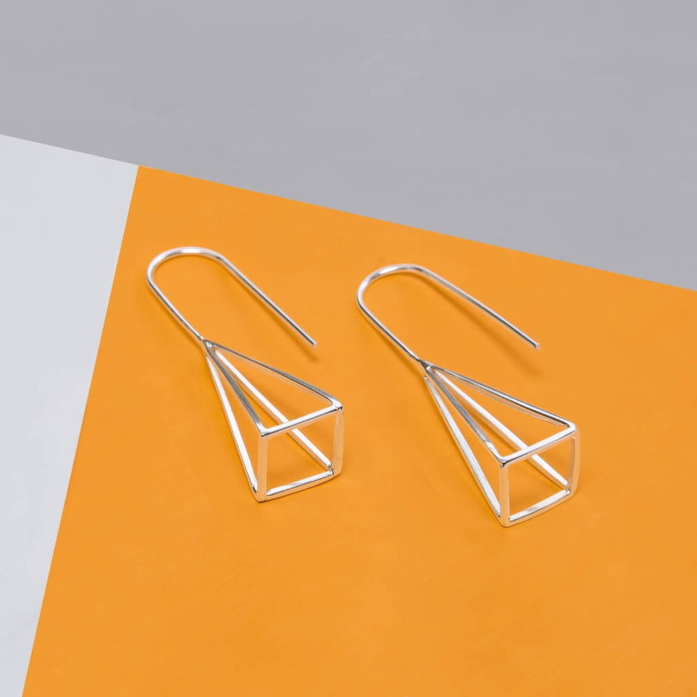 Geometric Silver Pyramid Earrings - Otis Jaxon Silver Jewellery