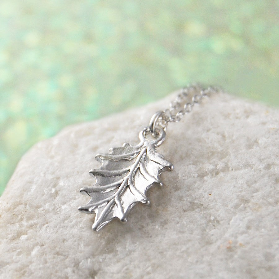 Holly Leaf Silver Christmas Necklace
