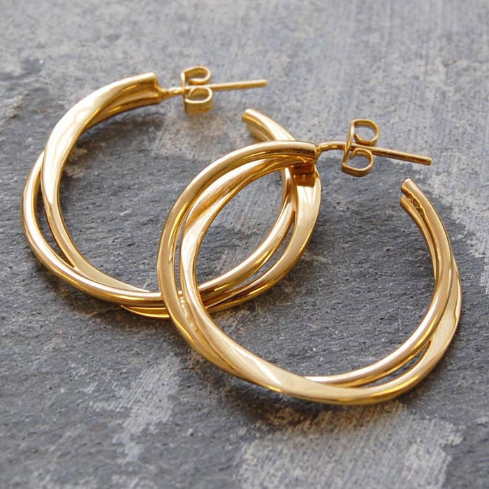 Interwoven Rose Gold Hoop Earrings - Otis Jaxon Silver Jewellery