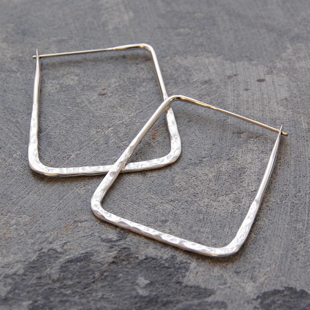 Hammered Square Geometric Silver Hoop Earrings - Otis Jaxon Silver Jewellery
