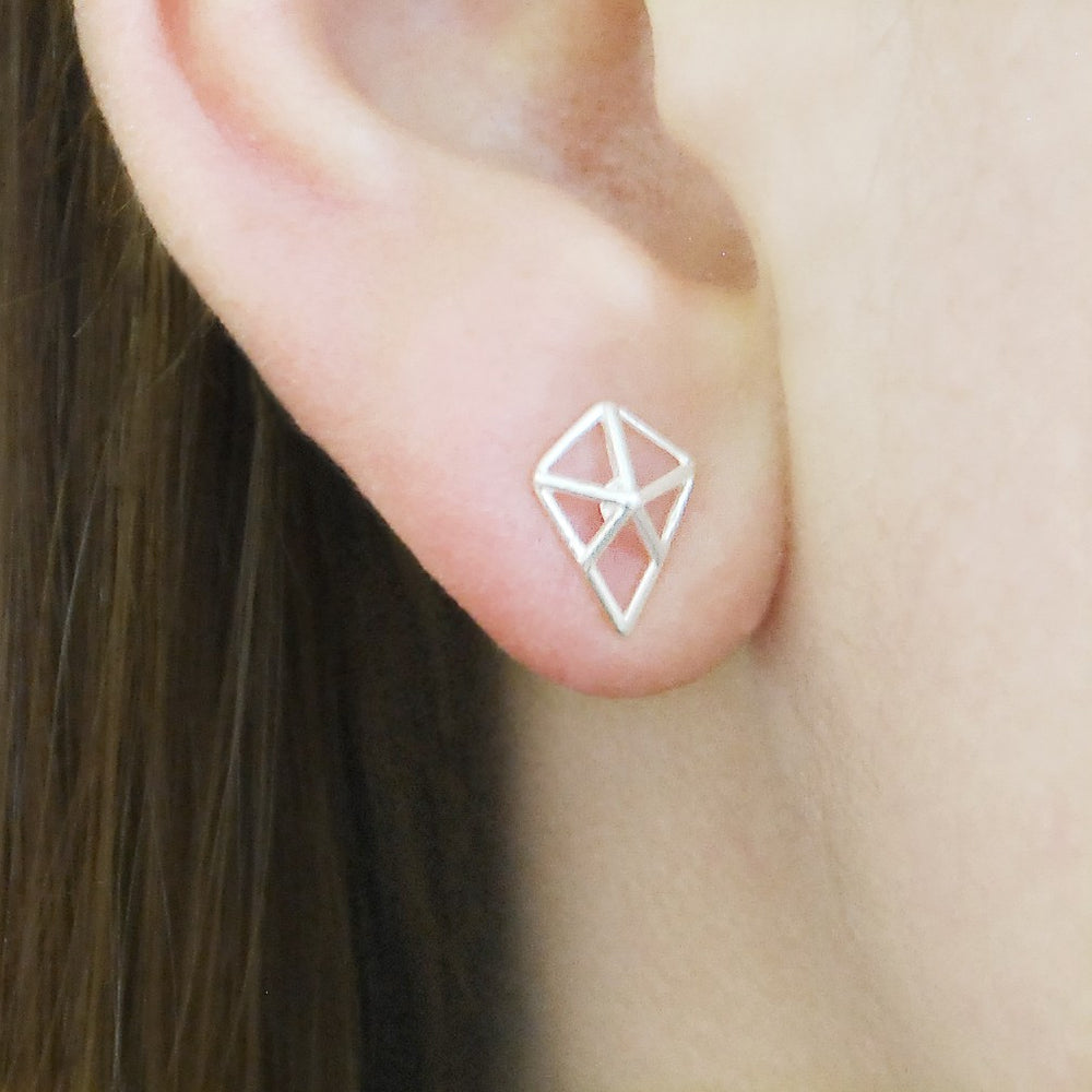 Geometric Diamond Gold Stud Earrings - Otis Jaxon Silver Jewellery