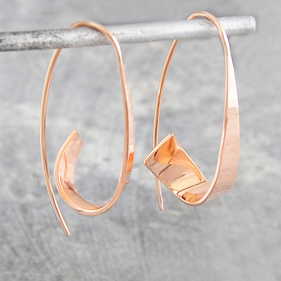 Flared Ribbon Rose Gold Hoop Earrings