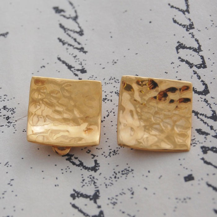 Hammered Square Gold Clip On Stud Earrings
