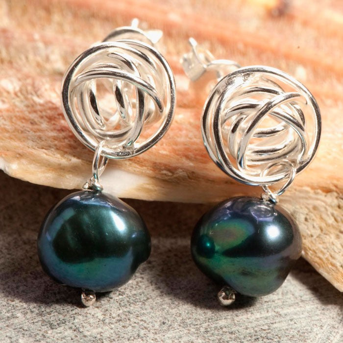 Nest Pearl Drop Earrings in Peacock