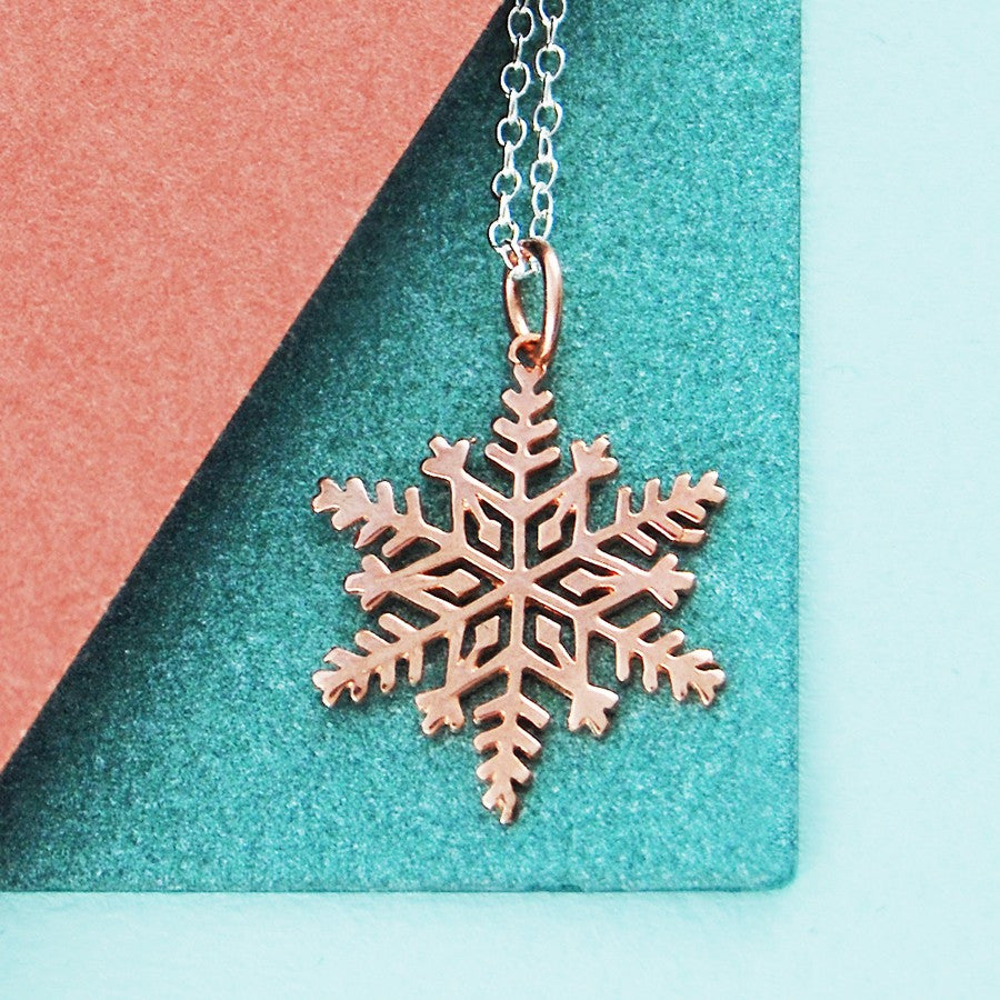 Rose Gold Snowflake Earrings - Otis Jaxon Silver Jewellery