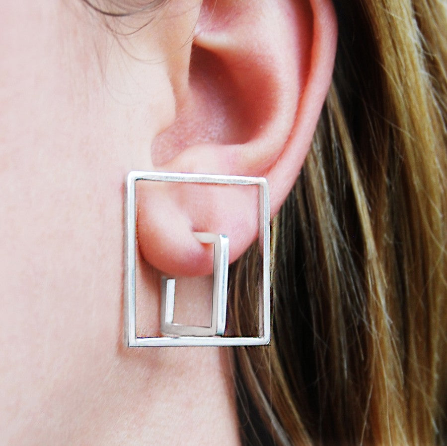 Square Silver Geometric Earrings - Otis Jaxon Silver Jewellery
