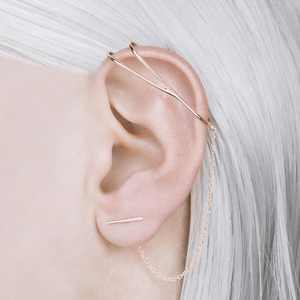 Rose Gold Chain Ear Cuff Earrings - Otis Jaxon Silver Jewellery