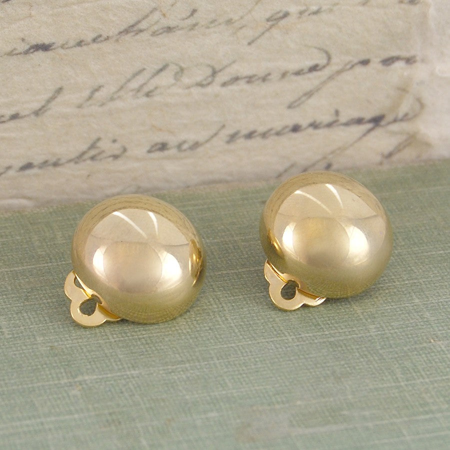 Clip On Half Gold Ball Earrings