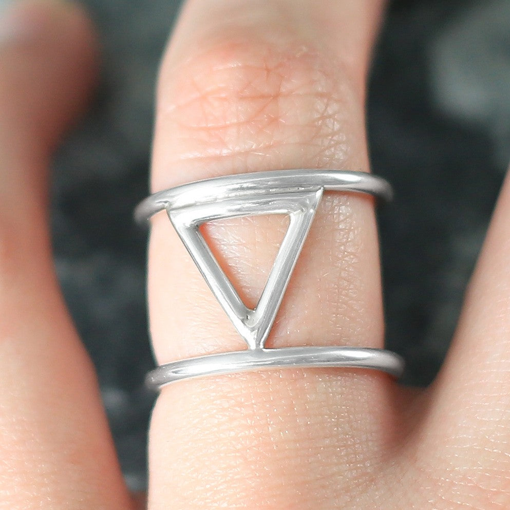 Triangle Geometric Silver Ring