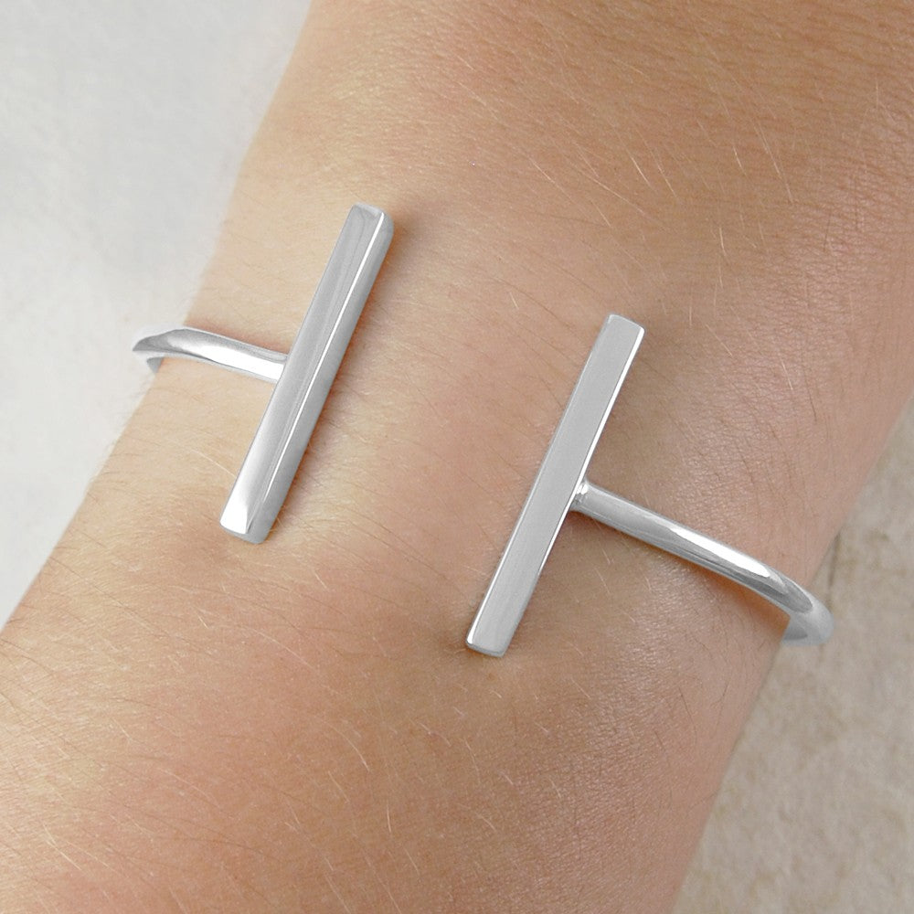 Bar Geometric Silver Ring