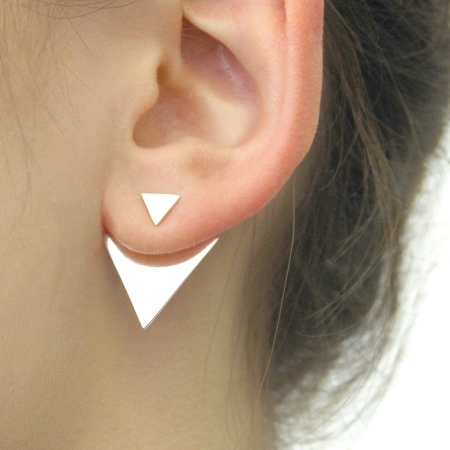 Geometric Silver Triangle Ear Jacket - Otis Jaxon Silver Jewellery