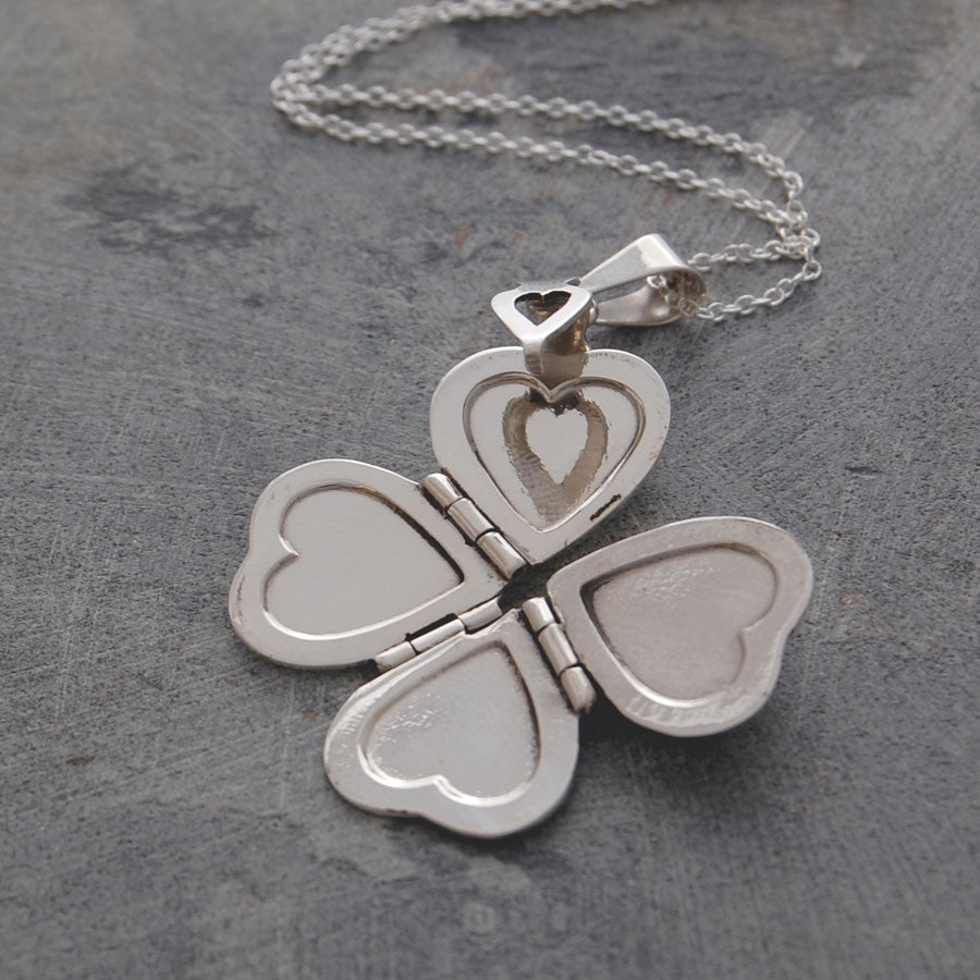 Clover Silver Heart Locket Necklace