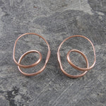 Double Loop Rose Gold Hoop Earrings