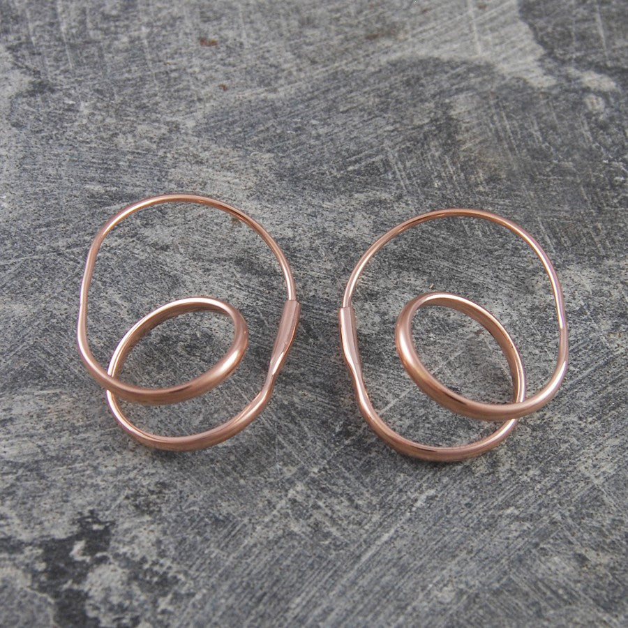 Double Loop Gold Hoop Earrings - Otis Jaxon Silver Jewellery