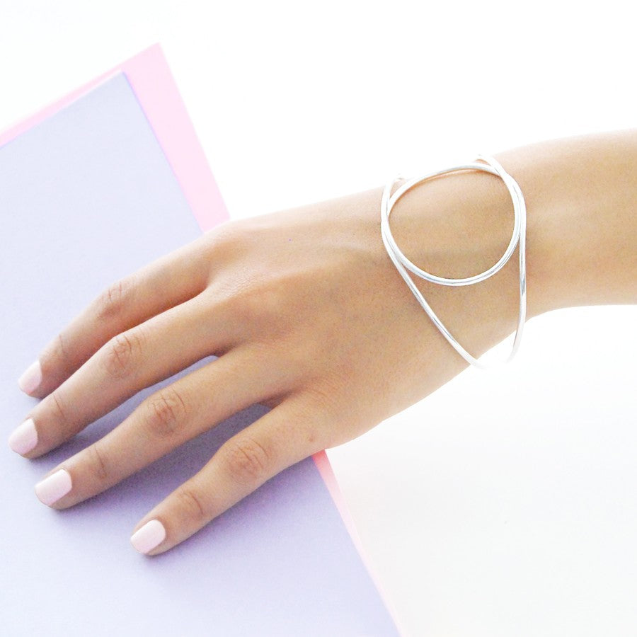Geometric Contemporary Silver Bangle
