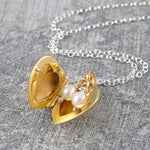 Gold Heart Locket Necklace with Pearls - Otis Jaxon Silver Jewellery