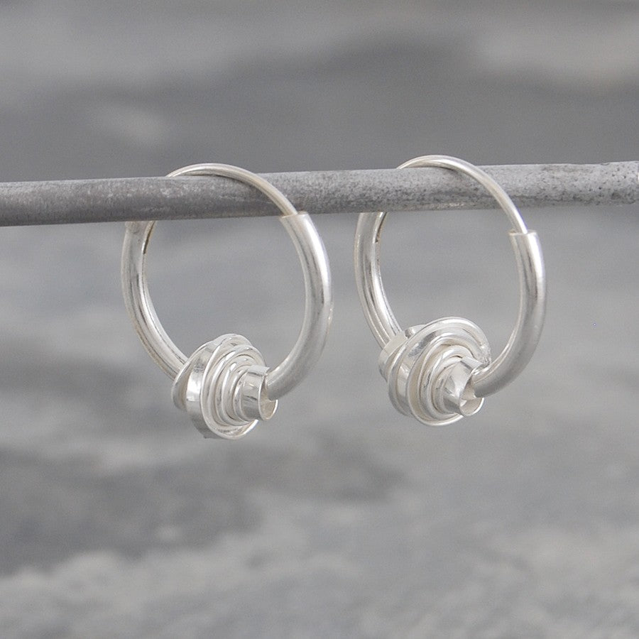 Coiled Silver Hoop Earrings