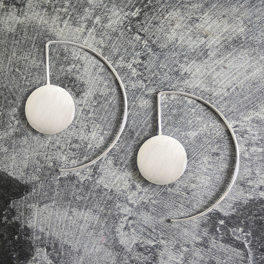 Disc Geometric Drop Earrings - Otis Jaxon Silver Jewellery
