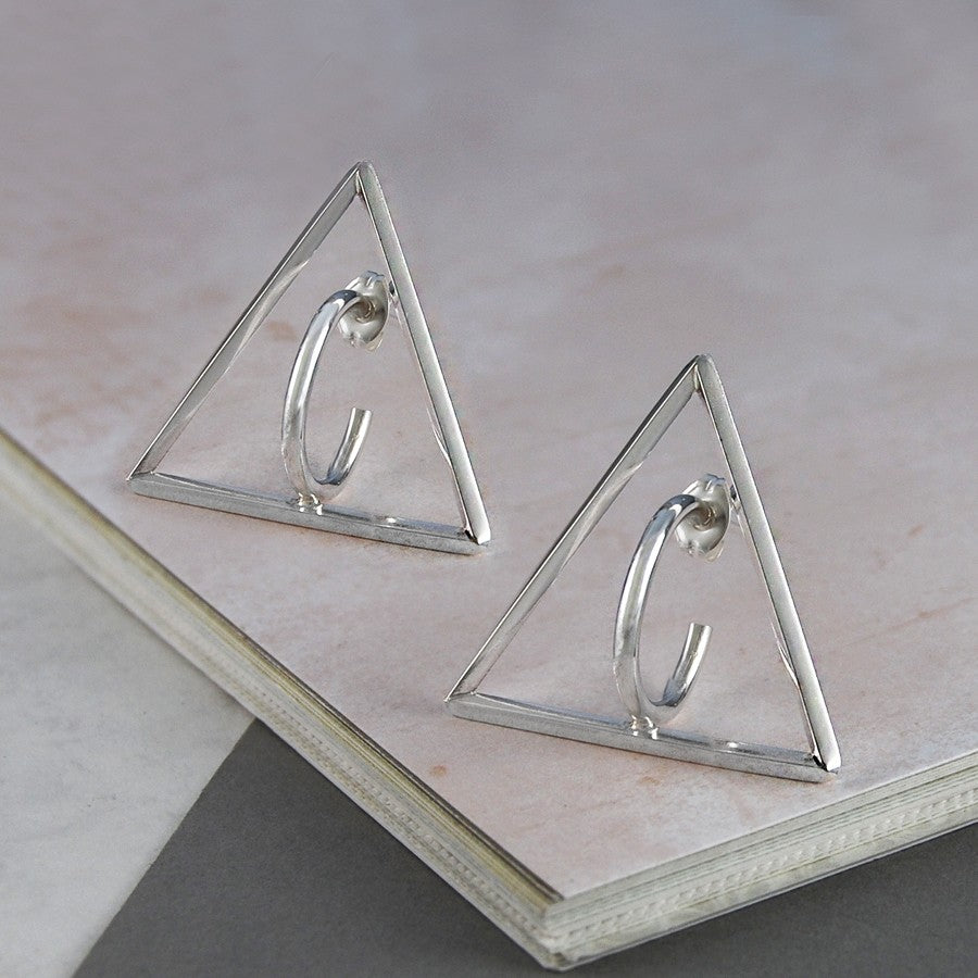 Triangle Silver Geometric Earrings - Otis Jaxon Silver Jewellery