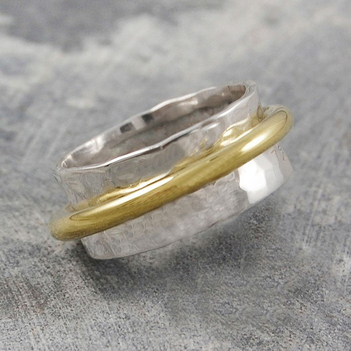 Cone Silver and Gold Ring - Otis Jaxon Silver Jewellery