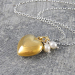 Gold Heart Locket Necklace with Pearls