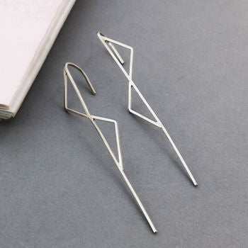 Silver Double Triangle Ear Climbers-Otis Jaxon Silver Jewellery