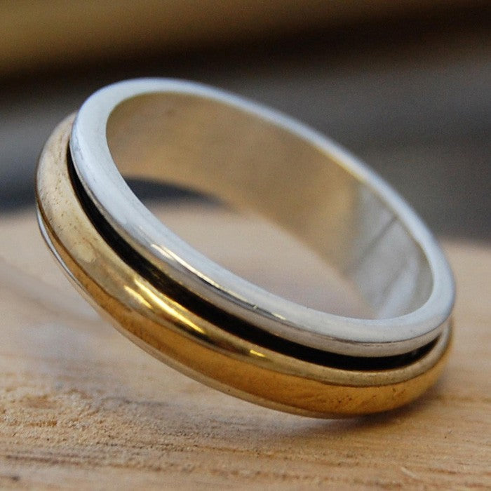 Silver and Gold Spinning Ring - Otis Jaxon Silver Jewellery