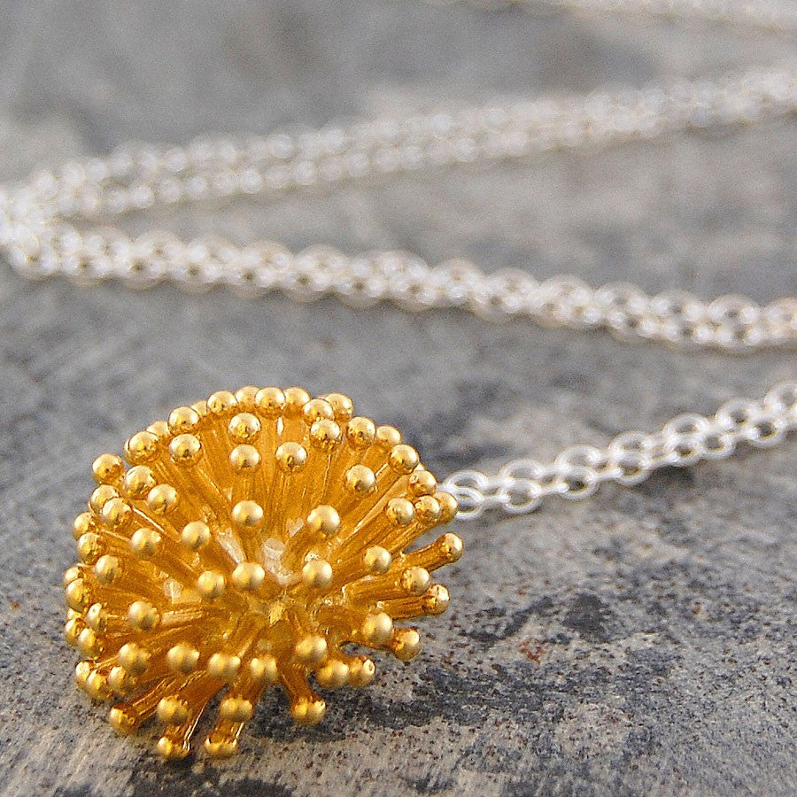 Dandelion Silver and Gold Necklace