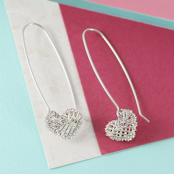 Silver Woven Heart Long Drop Earrings