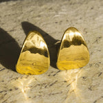 Textured Petal Gold Clip On Earrings - Otis Jaxon Silver Jewellery