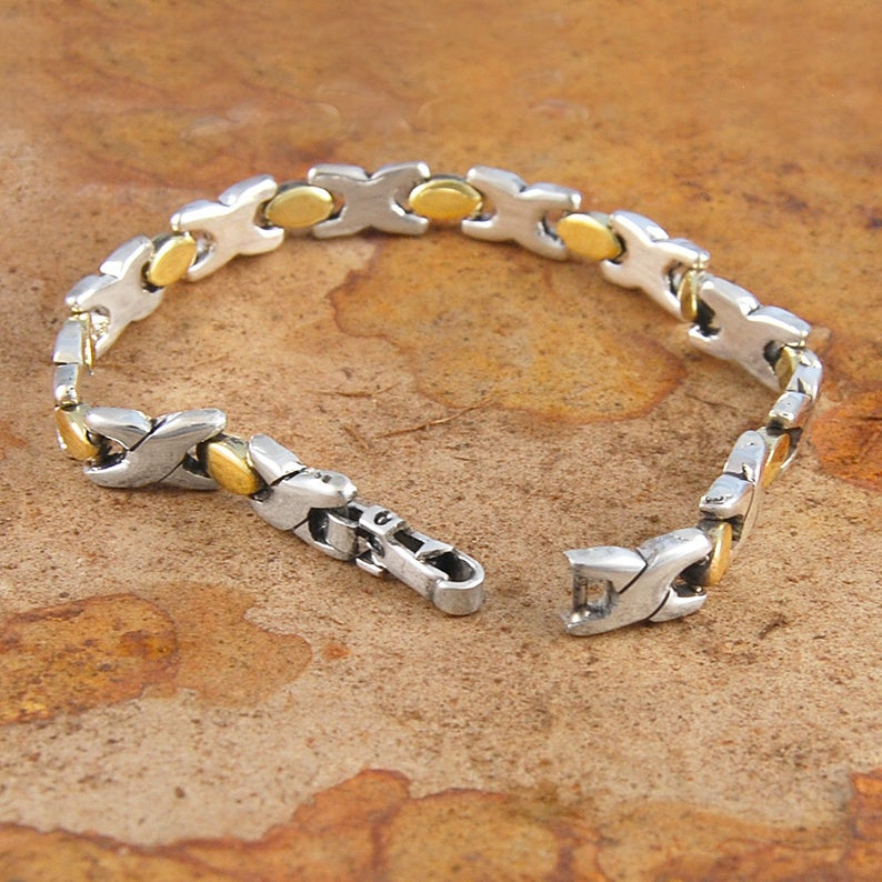 Hugs and Kisses Silver And Gold Bracelet