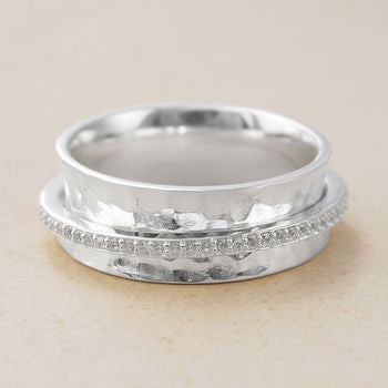 Silver and White Topaz Spinning Ring