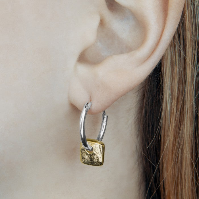 Organic Square Gold Hoop Earrings