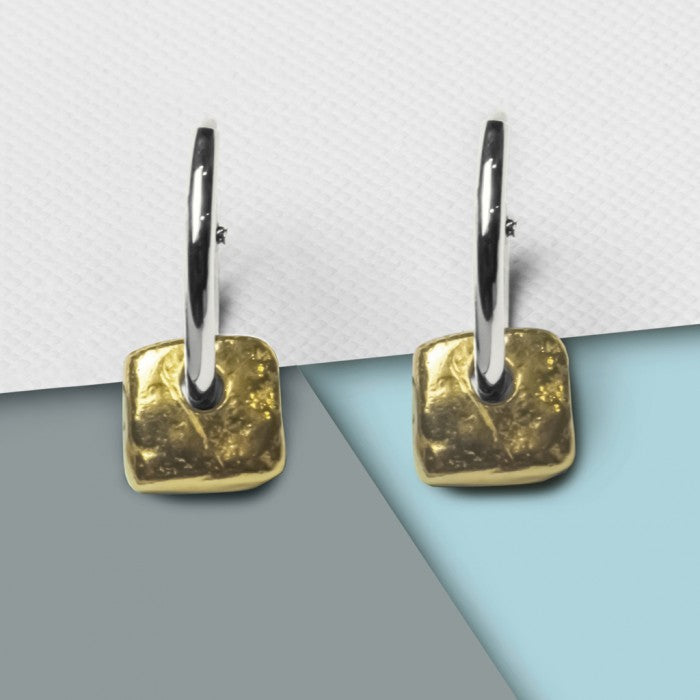 Organic Square Gold Hoop Earrings - Otis Jaxon Silver Jewellery