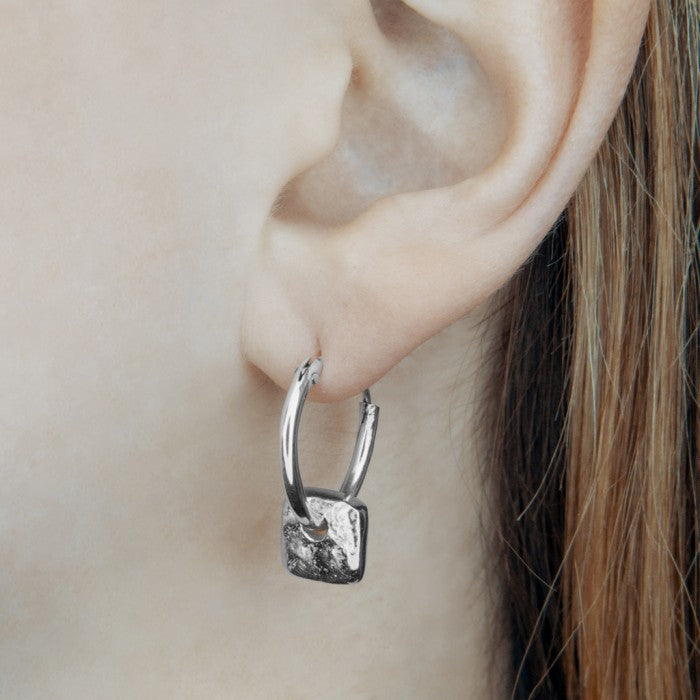 Organic Square Silver Hoop Earrings