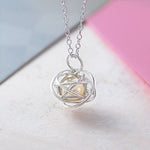 Silver Caged White Pearl Necklace