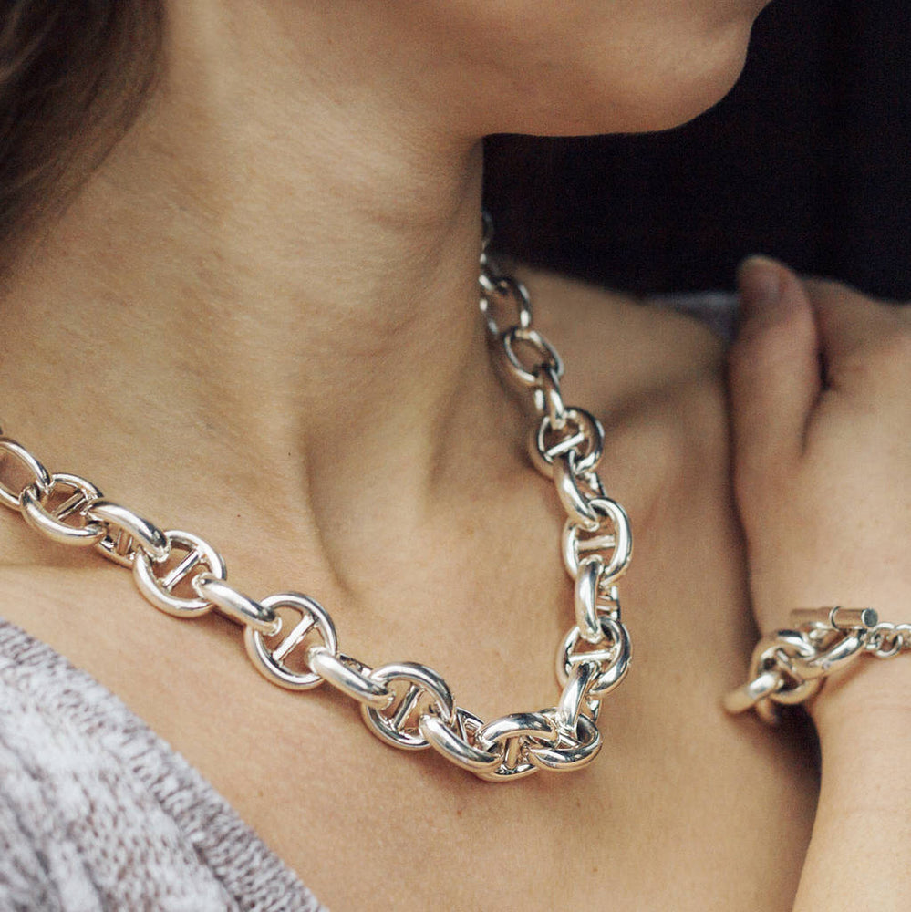 Sterling Silver Chunky Link Chain Necklace