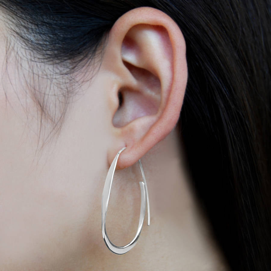 Silver Curl Hoop Earrings - Otis Jaxon Silver Jewellery