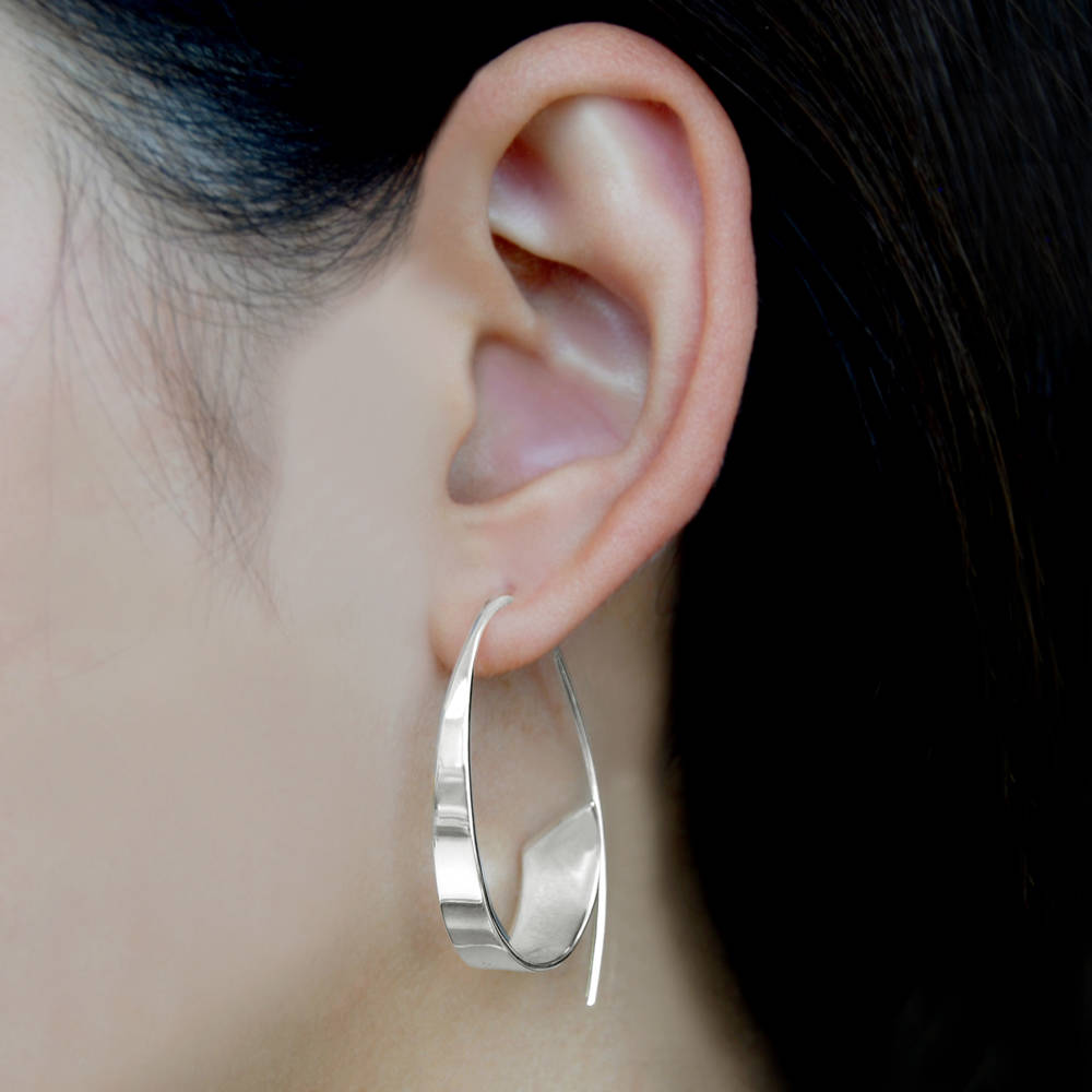 Curled Ribbon Silver Hoop Earrings - Otis Jaxon Silver Jewellery