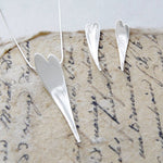 Small Curved Silver Heart Earrings
