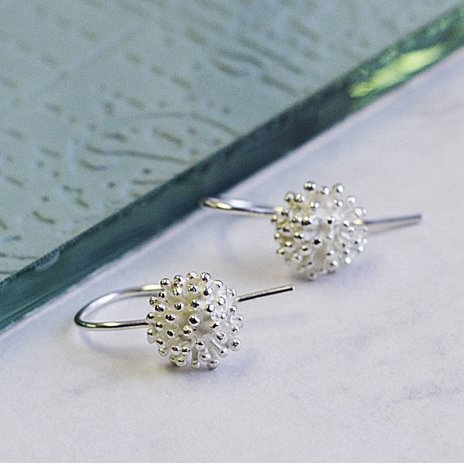 Dandelion Silver Flower Drop Earrings